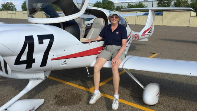 Jan Squillace waits in Prescott, Arizona for the start of the 40th flying of the Air Race Classic. Photo courtesy of Jan Squillace