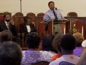 People concerned for their safety after a series of shootings last week had an opportunity Monday to speak to the Raleigh police chief at Mount Peace Baptist Church.