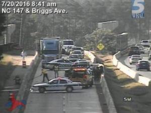 Accident closes Durham Freeway northbound at Briggs Avenue