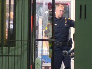 A Fayetteville gas station employee was shot in the leg on Friday night during an armed robbery, police said.