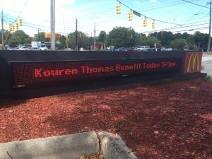 Kouren Thomas should be working at the McDonald's on Falls of Neuse Road, but instead, his picture graces the front of the restaurant.