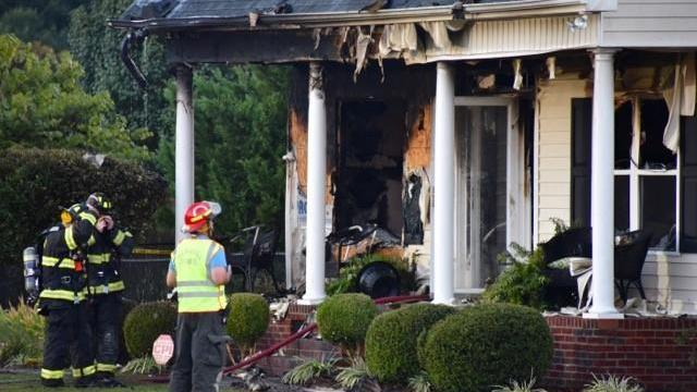 No injuries were reported Monday evening when fire destroyed a home on Cortona Way in Wendell, authorities said.