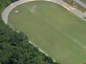 The football field at Gravelly Hill Middle School in Efland