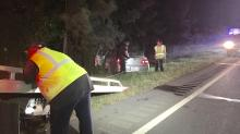 IMAGE: Overturned car causes backup on I-85 in Durham