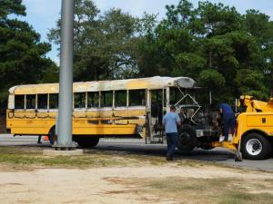 A school bus carrying Cumberland County students caught fire near the intersection of Bingham Drive and Bailey Lake Road in Fayetteville on Sept. 14, 2016.