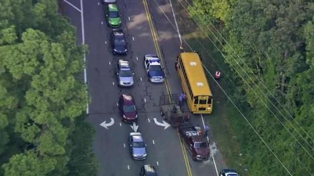 Wake County Public School System spokeswoman Lisa Luten said about 45 students from Vernon Malone High School and Southeast High School were on board the bus when it collided with a Ford F150 near the intersection of West Millbrook Road and Leadmine Road just after 3 p.m.