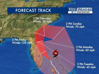 The forecast path for Hurricane Matthew as of 5 p.m. on Oct. 6, 2016.