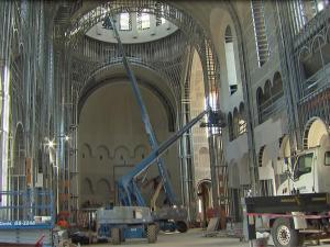 Construction inside Holy Name of Jesus Cathedral Oct. 24, 2016.