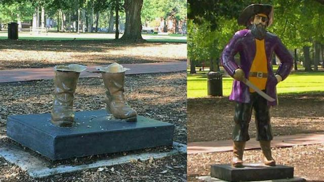 East Carolina University police are reviewing surveillance camera footage after someone again vandalized the Pirate statue on the campus mall over the weekend.