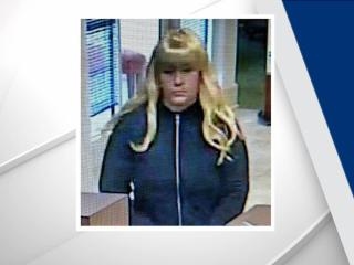 Authorities said a person wearing a blonde wig entered the First Citizens Bank at 53 Chatham Downs Drive and demanded money from a teller.