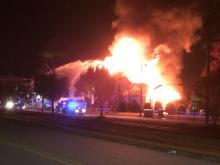 Firefighters said they responded to a call at the Birthing Center Church at about 4 a.m., but the building was already engulfed in flames.