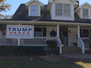 Cary police were investigating Sunday afternoon after someone fired gunshots at a Donald Trump campaign sign in front of a home on Morrisville Carpenter Road near the intersection with N.C. Highway 55.
