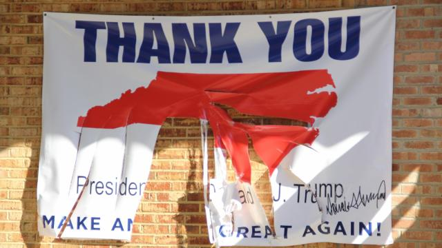 Police were investigating early Thursday after two signs outside the North Carolina Republican Party headquarters in Raleigh were damaged.