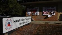 IMAGES: Signs outside GOP headquarters in Raleigh vandalized