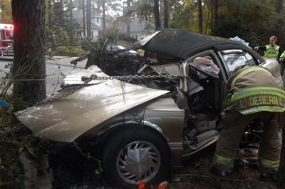 A 64-year-old man died Sunday in Pinehurst after his car crashed into a tree. Photo by Billy Marts.