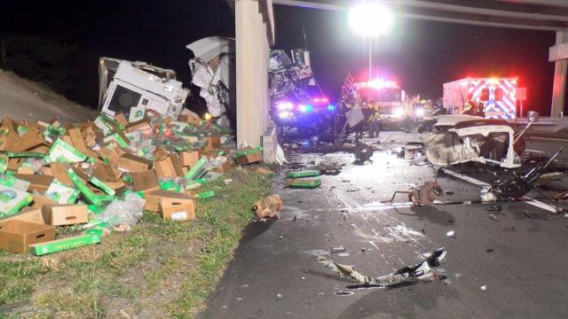 A bridge over Interstate 95 south of Rocky Mount was closed early Tuesday morning after a tractor-trailer hauling frozen chickens crashed into the bridge supports.