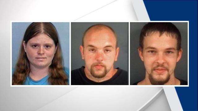 From left: Krystle Ferrell, 30, Justin Powell, 25, and Joshua Powell, 22, have all been identified as persons of interest in all four incidents.