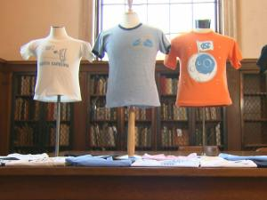 A collection of T-shirts dating back to 1957 tell the history of the University of North Carolina.