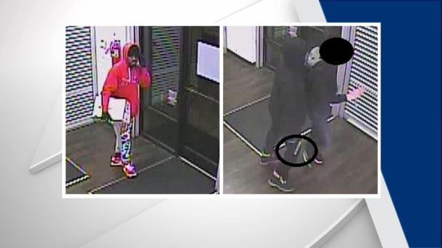 The men were described as being black and between 5 feet 7 inches and 5 feet 10 inches in height. One of the men was wearing a red hooded sweatshirt, multicolored pants and red and white shoes while the other was wearing a dark hooded sweatshirt and dark pants.