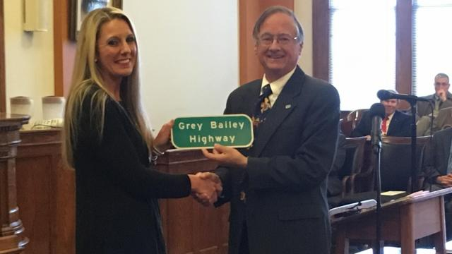 A stretch of U.S. Highway 70 from Ebenezer Church Road to the U.S. 70/Goldsboro Bypass Bridge over the Little River in Wayne County was designated the Grey Bailey Highway.