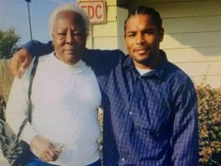 Mark A. Hicks, right, with his grandmother, Louise Hicks.