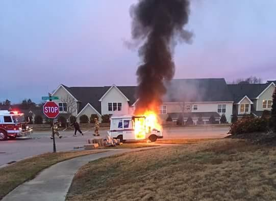 Fire Destroys Postal Truck Some Packages In Wake Forest