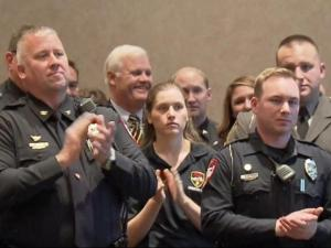 """Governor Pat McCrory recognized first responders Tuesday for their bravery and dedication at a ceremony in Cary, saying """"it's the least we can do."""" The event was put on by the North Carolina Automobile Dealers Association."""