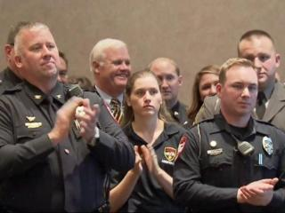 "Governor Pat McCrory recognized first responders Tuesday for their bravery and dedication at a ceremony in Cary, saying ""it's the least we can do."" The event was put on by the North Carolina Automobile Dealers Association."