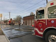 No injuries were reported Friday morning when fire did heavy damage to a custom cabinet shop in Durham.