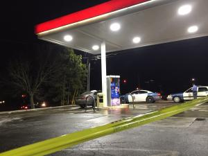 Raleigh police said officers responded to an Exxon store near the intersection of New Hope Church Road and Atlantic Avenue in connection with a reported gunshot wound just after 6:30 p.m.