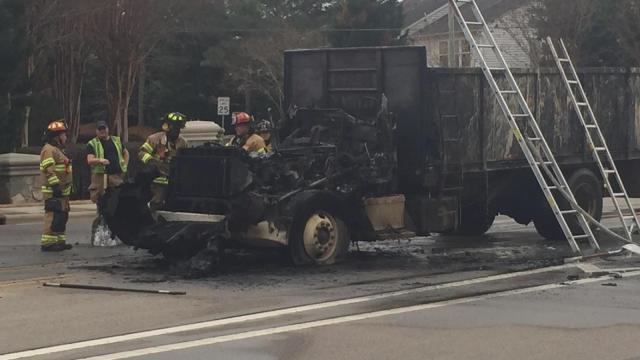 A dump truck hauling trash caught fire Saturday afternoon in Raleigh, but the driver was not injured.