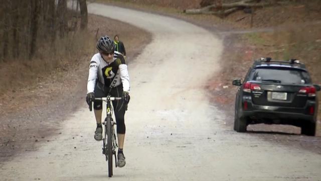 Bicyclist, biking trail