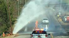 IMAGE: Garner water line break sends water spewing into air