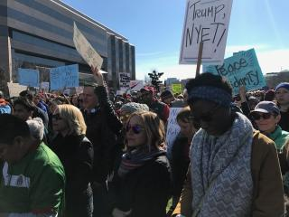 A crowd turned out on Saturday for the No Wall No Ban No Fear Rally in Raleigh to protest recent executive orders by President Donald Trump that limit travel from certain countries and block refugees coming to the United States.