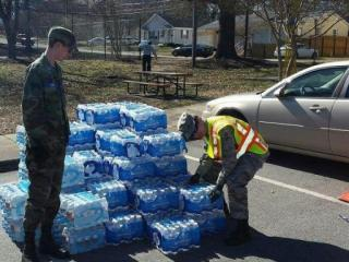Volunteers from the Civil Air Patrol distribute water in Orange County after a water main break near Chapel Hill caused a shortage. Photo courtesy Orange County