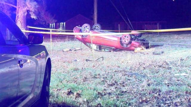 Car overturns on Clayton road, killing 1 man