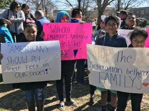 Hundreds of people gathered in downtown Raleigh Thursday, Feb. 16, 2017, to voice opposition to policies advanced by the Trump administration that they believe are harmful to immigrants.