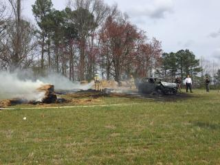A police chase ended in a fiery crash along Interstate 95 in Nash County on Tuesday.