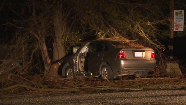 A 55-year-old man died early Saturday morning when he crashed his vehicle into a tree in Fayetteville.