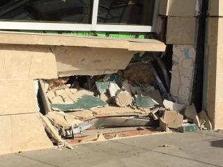 A vehicle hit the side of a Whole Foods Market in Raleigh March 8, 2017.