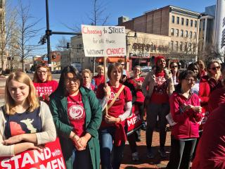"""People in Durham take part in """"A Day Without A Woman"""" protests."""