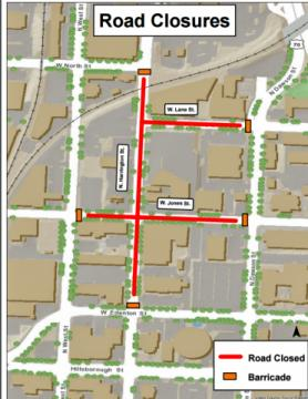 Downtown Raleigh road closures- March 19