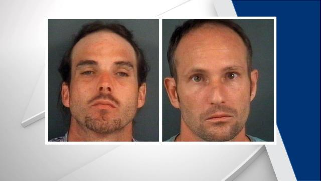 Fayetteville police are searching for two men who threatened store employees with hypodermic needles in separate incidents last month.