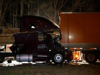 Four tractor-trailers were involved in a chain-reaction crash early Tuesday morning that closed southbound lanes on Interstate 95 north of Rocky Mount.