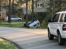 Durham car flips, crashes following shooting