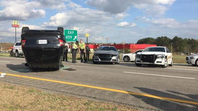 Two suspects were taken into custody on Wednesday after a police chase ended in a crash in Nash County. Photo via the Nash County Sheriff's Office