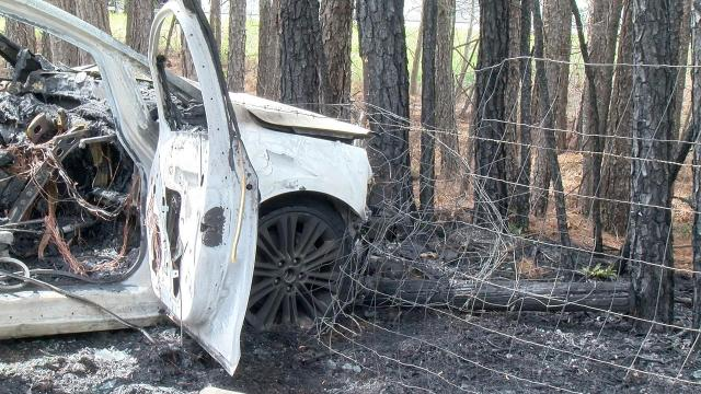 A man was killed when his car caught fire after a single-vehicle crash near Benson on Monday afternoon.