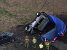 Chase ends in fiery crash near Durham-Person County line