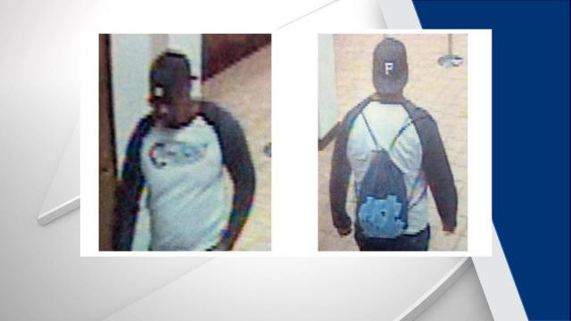The images show a man who is black, wearing a backward baseball cap, dark shorts and a white long-sleeve shirt with dark sleeves. Witnesses said he was about 5 feet 10 inches tall.