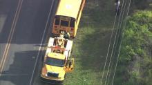Sky 5 flies over scene of Wake County school bus crash